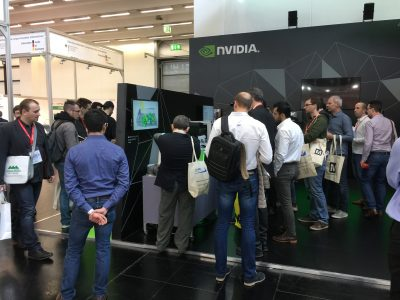 NVIDIA booth with Photoneo bin picking demo unit