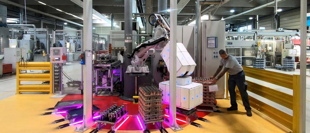 Automated picking & placing of heavy, shiny baskets filled with metal parts